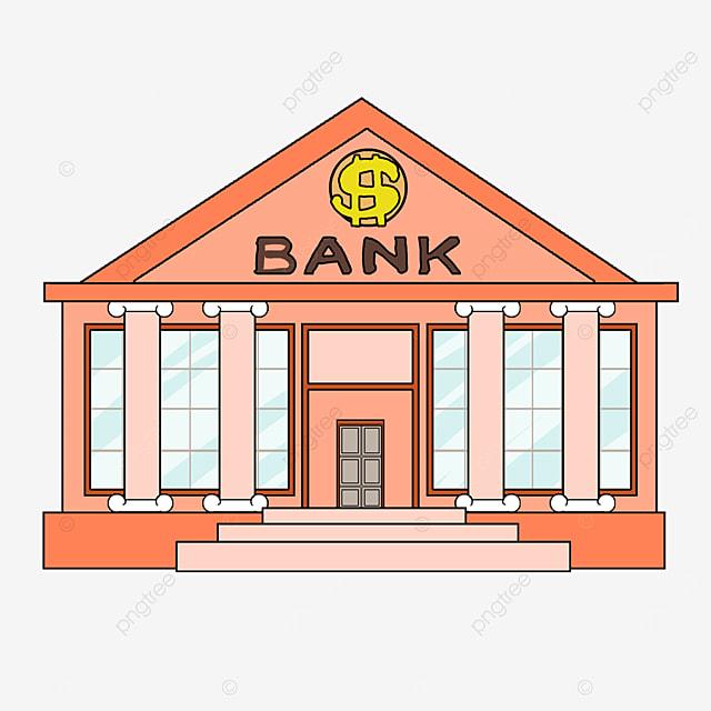 bank clip art cartoon style orange building office building light blue windows bank tall buildings