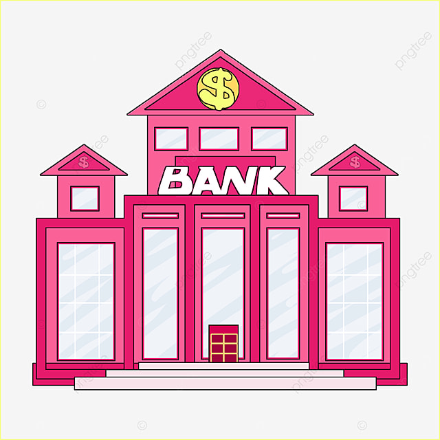 bank clip art cartoon style rose red bank building