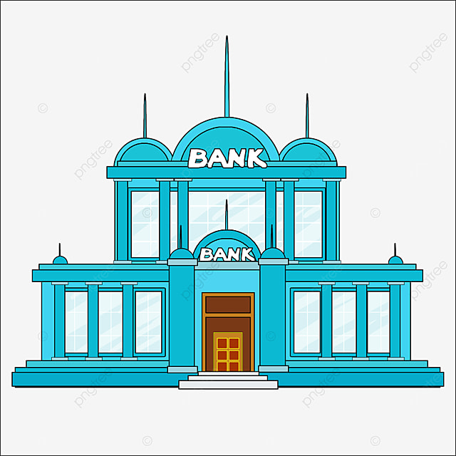 bank clipart cartoon style blue house bank office building architecture