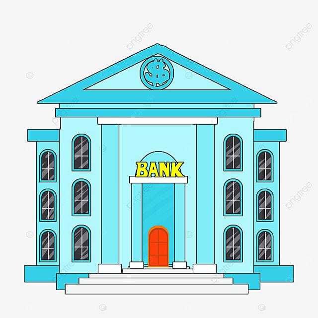 bank clipart cartoon style blue office building black windows bank building