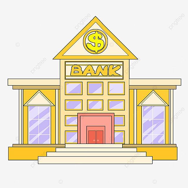 bank clipart cartoon style earthy yellow office building lavender windows bank building