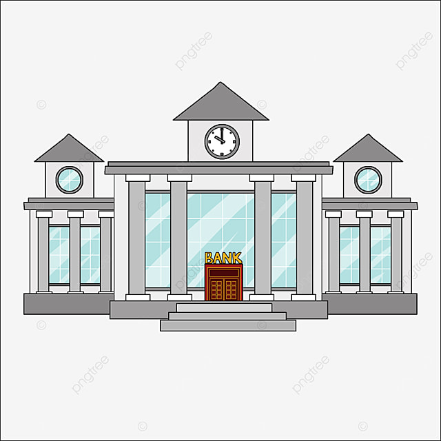 bank clipart cartoon style gray building light blue windows bank office building