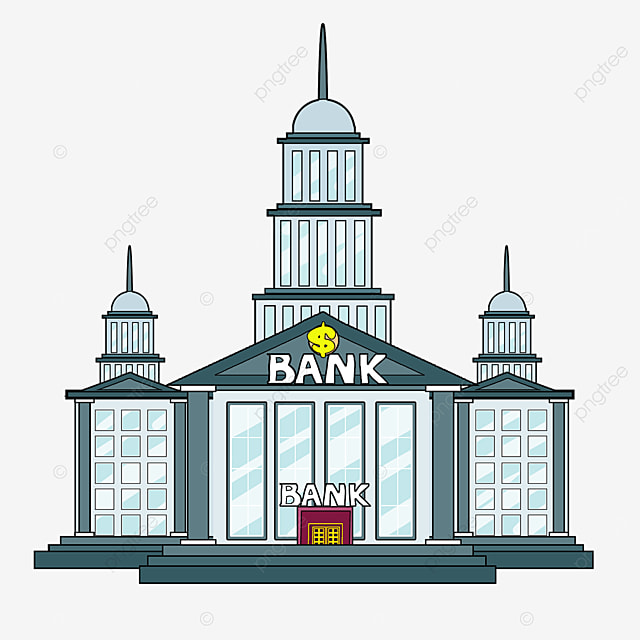 bank clipart cartoon style gray dome building light blue windows bank office building