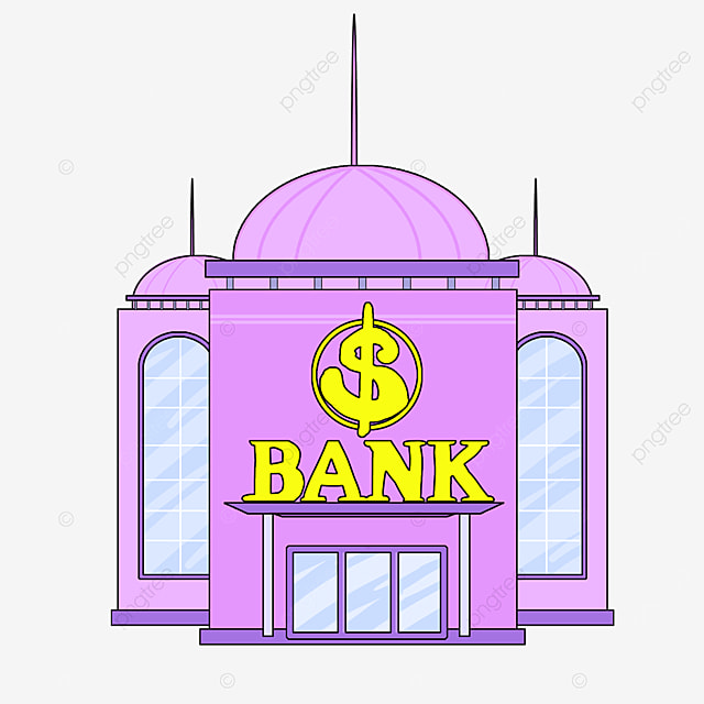 bank clipart cartoon style lavender bank building office building