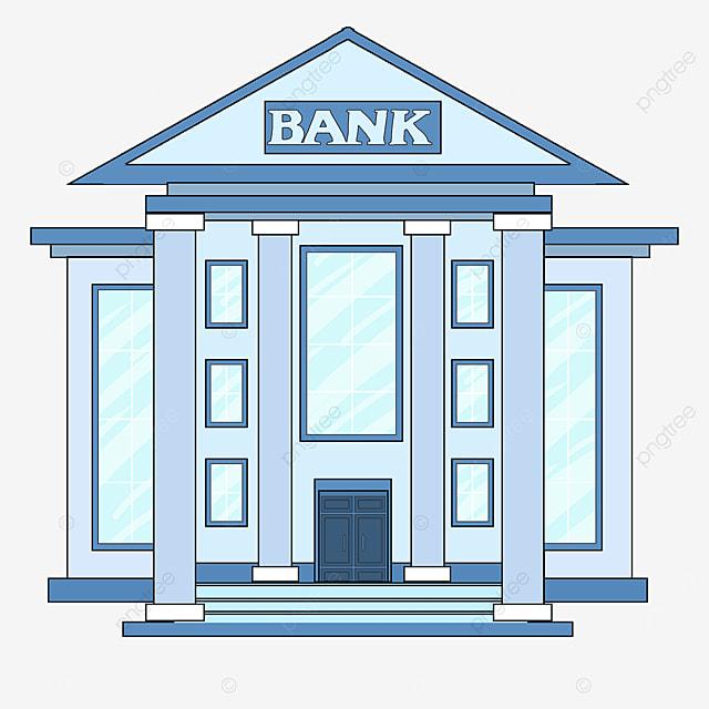 bank clipart cartoon style light blue bank office building