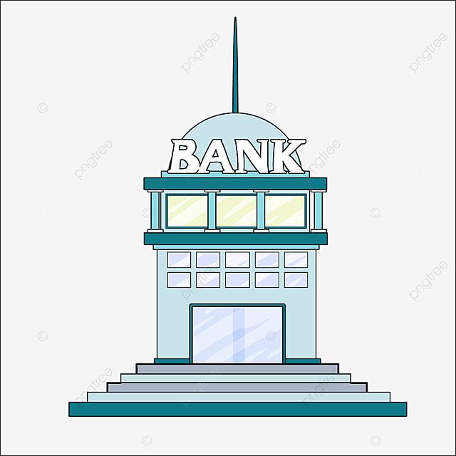 bank clipart cartoon style light blue office building yellow windows bank building