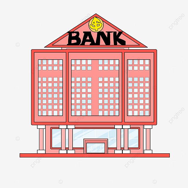 bank clipart cartoon style orange building light blue windows bank office building
