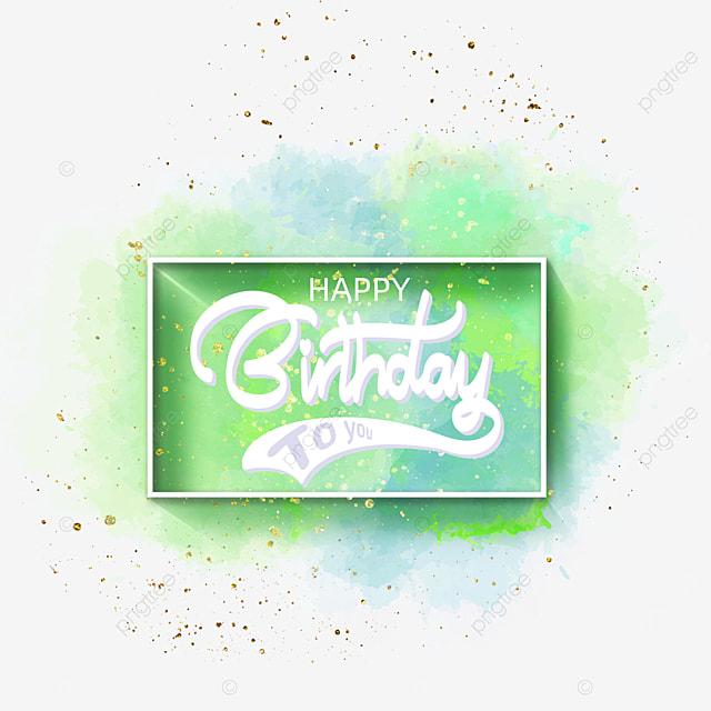 birthday blue and green watercolor brush border