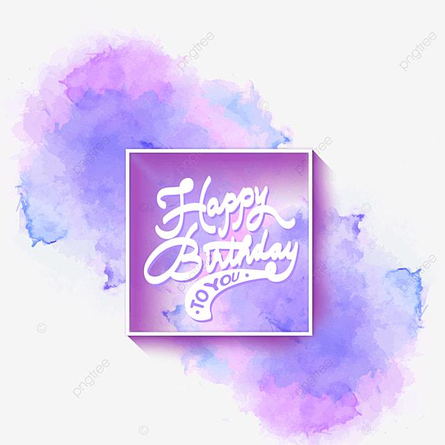 birthday blue purple watercolor brush border
