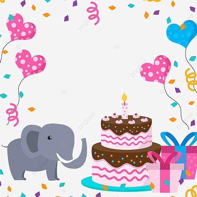 birthday cake baby elephant balloon confetti gift box border