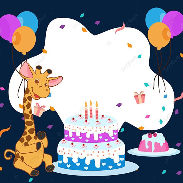 birthday cake balloon giraffe confetti border