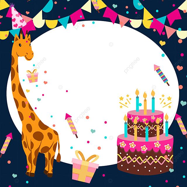 birthday cake bunting giraffe confetti border