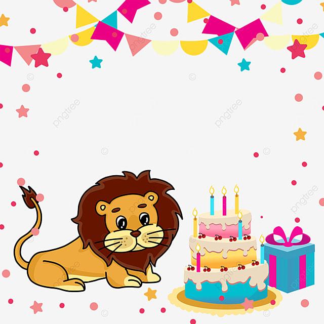 birthday cake lion gift box bunting border