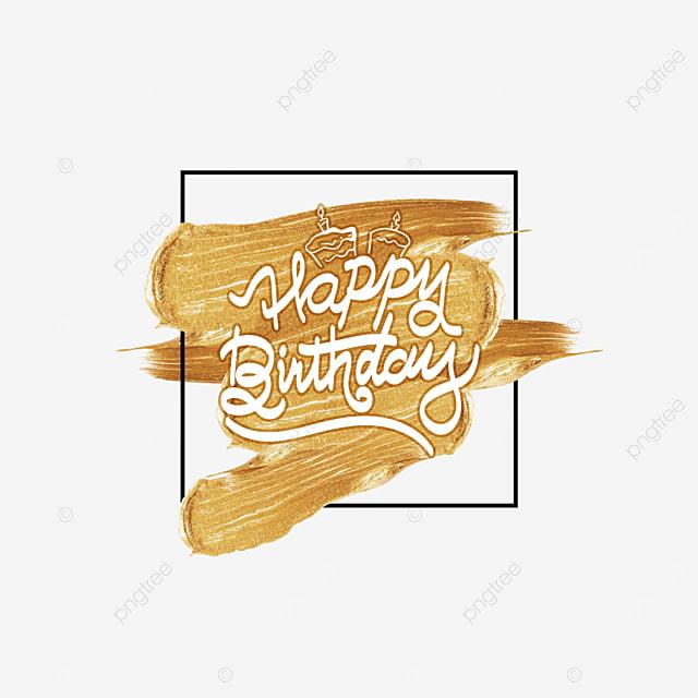 birthday golden brush border