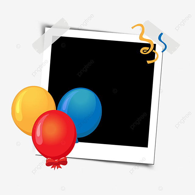 birthday photo frame with colorful balloons