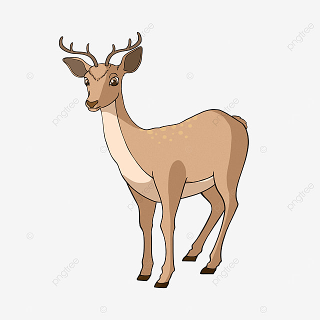 brown fawn clipart cartoon style