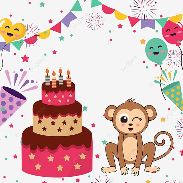 bunting fireworks balloon monkey birthday cake border