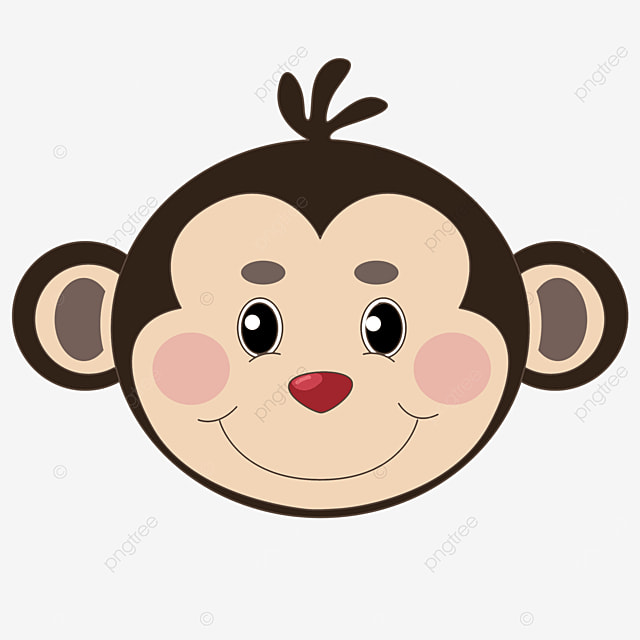cartoon brown monkey face clipart