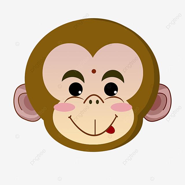 cartoon cute monkey face clipart