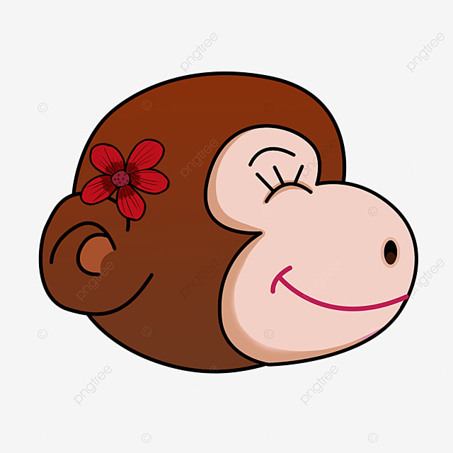 cartoon girl monkey face clipart