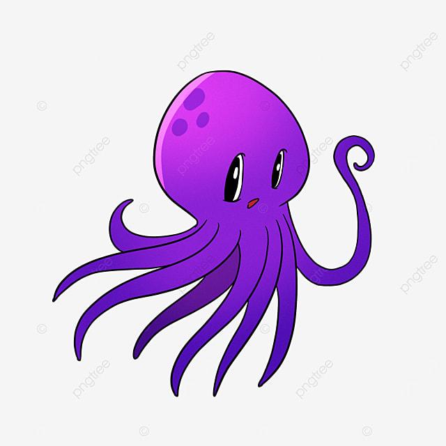 cartoon purple octopus clipart