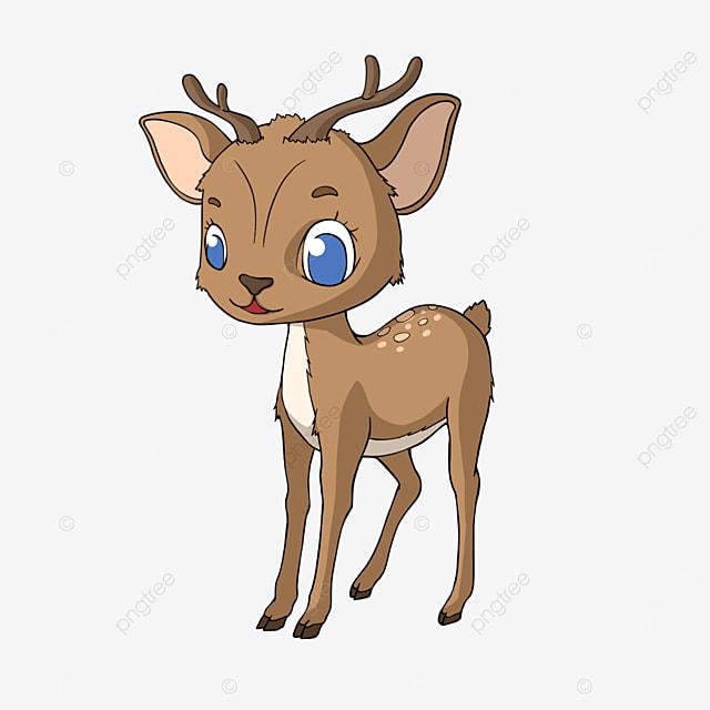 cartoon style big eyed fawn clipart