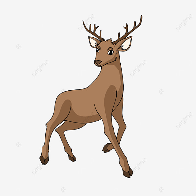 cartoon style brown fawn clipart