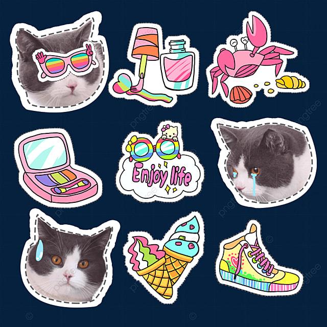 cat cool cat cute emoji pack