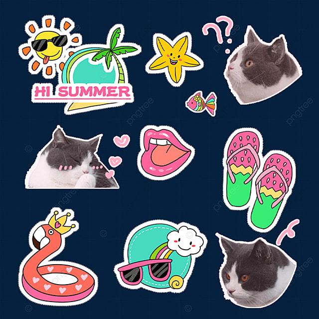 cat sticker cute emoji pack