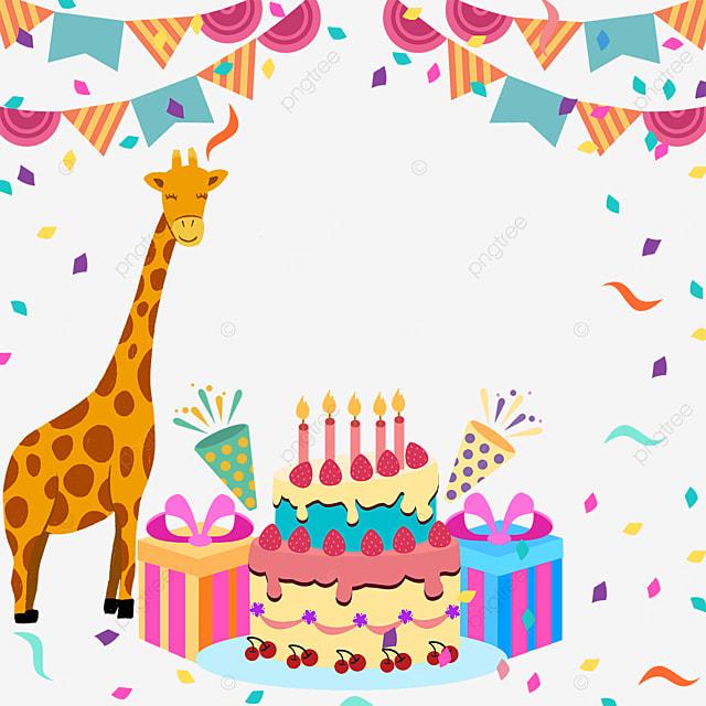 confetti birthday cake gift box giraffe bunting border