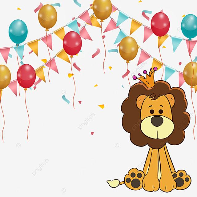 crown lion bunting birthday balloon border