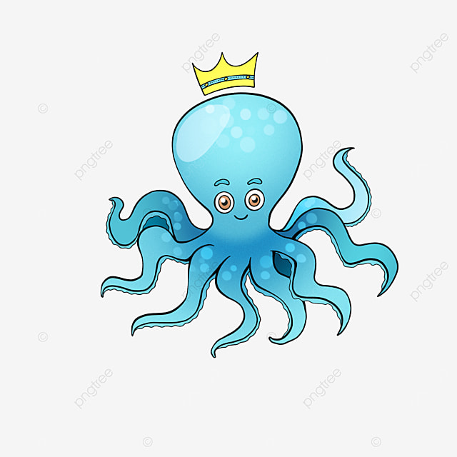 crown octopus clipart cute