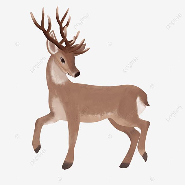 cute elk with brown hair clipart