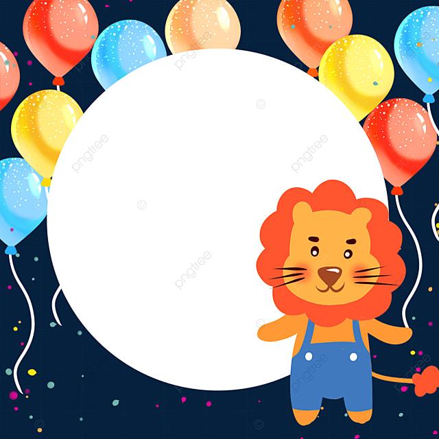 cute lion birthday balloon confetti border