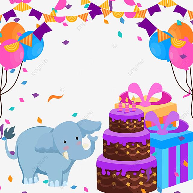 elephant gift box birthday cake bunting balloon border