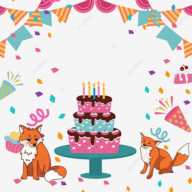 fox birthday cake bunting confetti border