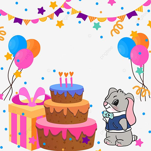 gift box bunting balloon birthday cake bunny border