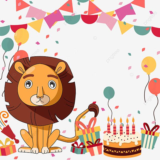 gift box bunting balloon birthday cake lion border