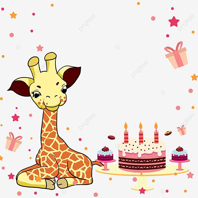 gift box star giraffe birthday cake border