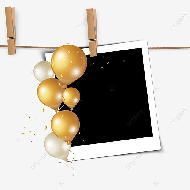 golden balloon birthday clip photo frame