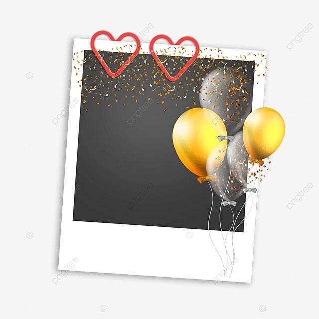 golden balloon birthday photo frame