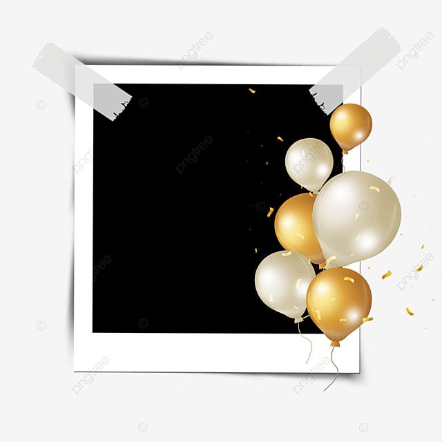 golden balloon confetti birthday photo frame