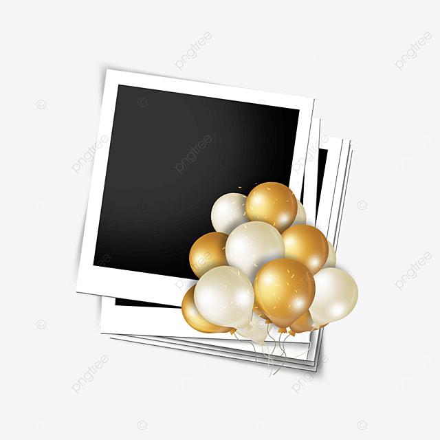 golden balloon happy birthday photo frame