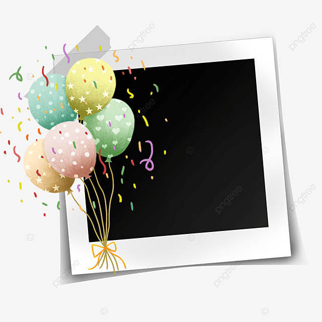 happy birthday photo frame with colorful balloons