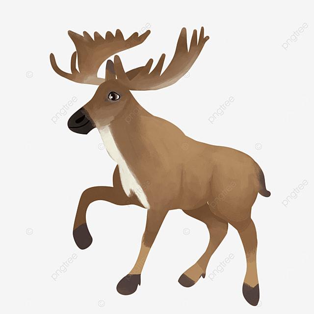happy christmas elk with antlers clip art