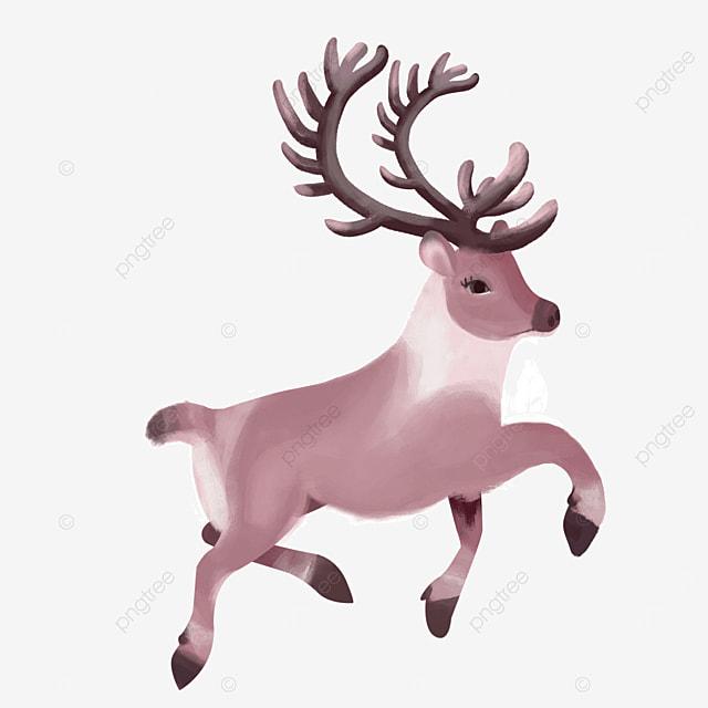 happy running horned mammal elk clipart