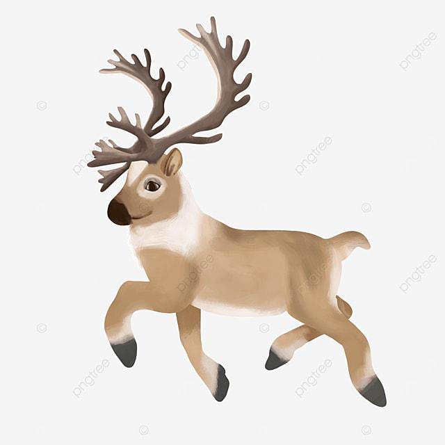 happy running little elk wild animal clipart