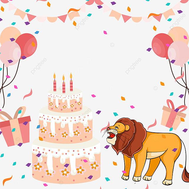 lion birthday cake bunting balloon border