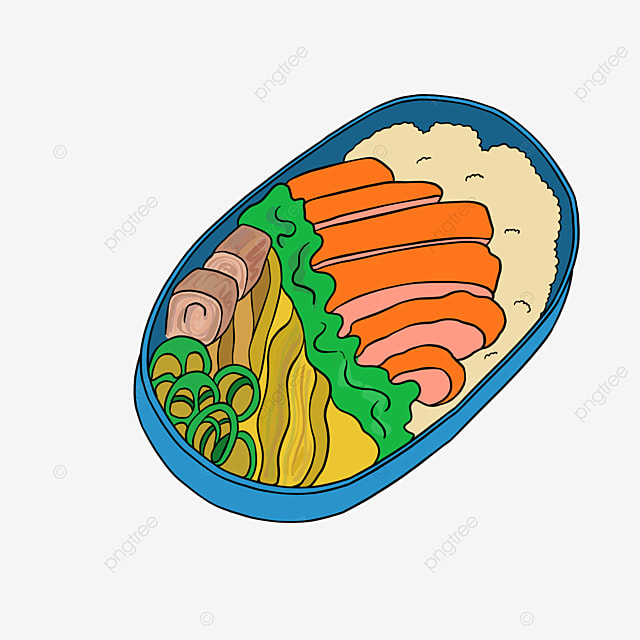 lunch clipart cartoon bento rice