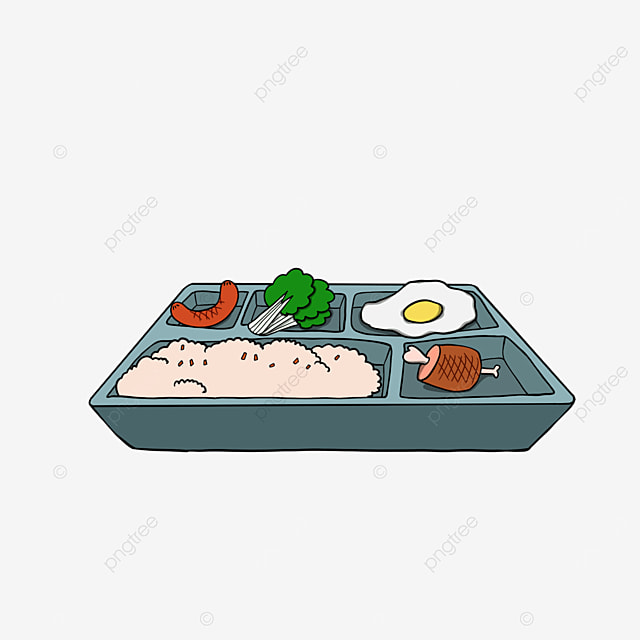 lunch clipart cartoon luncheon meat egg rice